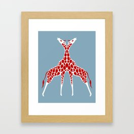 Giraffe Lovers - Red Framed Art Print