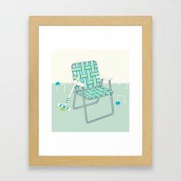 Retro Summer Lawn Chair and Croquet Framed Art Print