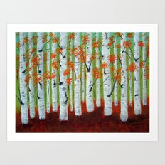 Atumn Birch trees - 5 Art Print