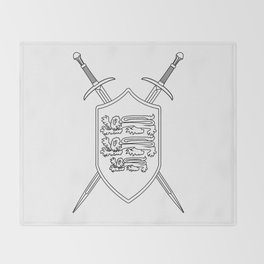 Crossed Swords and Shield Outline Throw Blanket