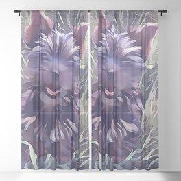 Black Yorkshire Terrier Sheer Curtain