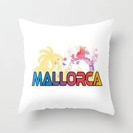 """A Great German Beer Tee Saying """"Mallorca Party Central"""" T-shirt Design Beach Sand Palm Trees Dance Throw Pillow"""