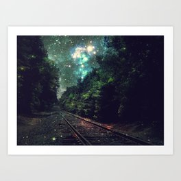 Train Tracks Next Stop Anywhere Teal Green Art Print