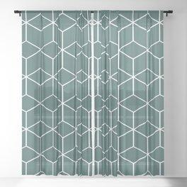 Cube Geometric 03 Teal Sheer Curtain