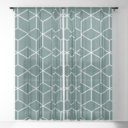 Cube Geometric 03 Teal Sheer Curtain