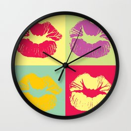 Pop Art Kisses Wall Clock