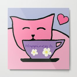 Happiness Is Cats and Tea Metal Print