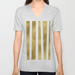 Gold unequal stripes on clear white - vertical pattern Unisex V-Neck