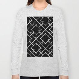 Bamboo Chinoiserie Lattice in Black + White Long Sleeve T-shirt