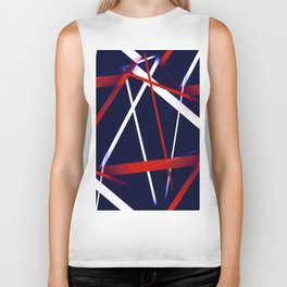 Seamless Red and White Stripes on A Blue Background Biker Tank