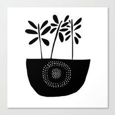 Three Stems Black and White Flowers Canvas Print