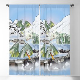 Dragons in a natural hot spring onsen Blackout Curtain