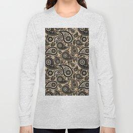 Tan Paisley Pattern Long Sleeve T-shirt