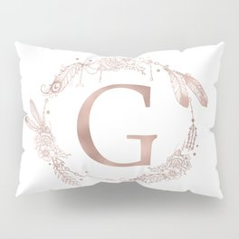 Letter G Rose Gold Pink Initial Monogram Pillow Sham