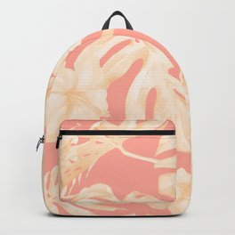 Pretty Pink and Coral Topical Monstera Pattern Backpack