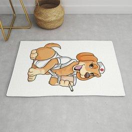 Dog as funny nurse clothes Rug