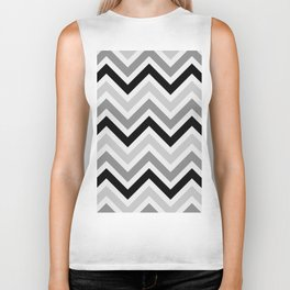 Chevron Stripes : Black Gray White Biker Tank