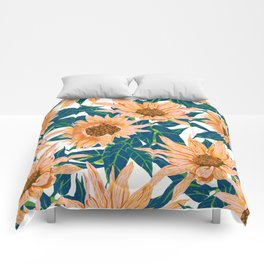 Blush Sunflowers Comforters
