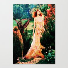Lady In The Garden - Painting Style Canvas Print