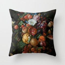 Antique Botanical IV [antique painting remixed] Throw Pillow