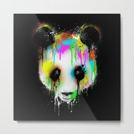 Panda Paint Face Metal Print