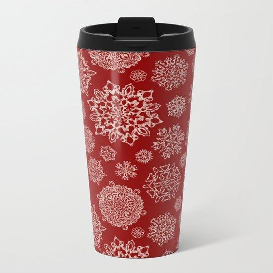 Merry Christmas- Abstract christmas snow star pattern on festive red I Metal Travel Mug
