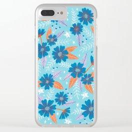 Floral Moths - Blue Clear iPhone Case