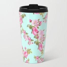 Pink & Mint Green Floral Travel Mug