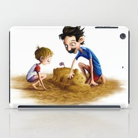neil gaiman iPad Cases featuring Father and Son at the beach, by Neil Price by Neil Price