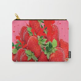 JUICY RED STRAWBERRIES PINK ART Carry-All Pouch
