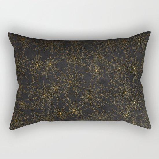 Autumn-world 4 - gold spiderwebs on chalkboard Rectangular Pillow