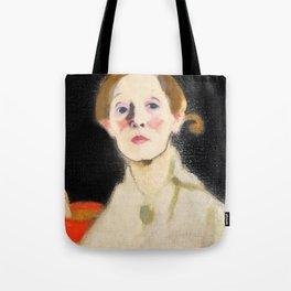 12,000pixel-500dpi - Self Portrait with Black Background - Helene Sofia Schjerfbeck Tote Bag