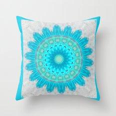 Ocean Turquoise Kaleidoscope Throw Pillow