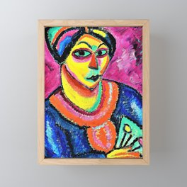 Alexej von Jawlensky - Woman with a green fan - Digital Remastered Edition Framed Mini Art Print