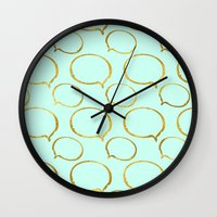 gold foil Wall Clocks featuring Mint Gold Foil 01 by Aloke Design