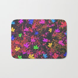 maple leaf in yellow green pink blue red with red and orange creepers plants background Bath Mat
