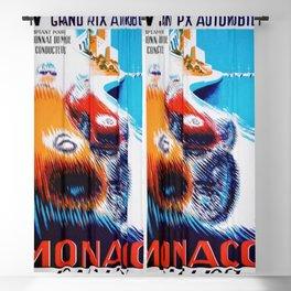 1957 Grand Prix de Monaco Auto Racing Vintage Poster Blackout Curtain