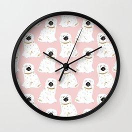 Staffordshire Dog Figurines No. 1 in Blush Pink Wall Clock