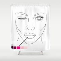 makeup Shower Curtains featuring makeup/2 by nataliaplata