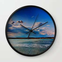 Leaving Harwich, peaceful seascape with dramatic god-rays Wall Clock