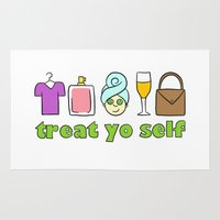 treat yo self Area & Throw Rugs featuring Treat Yo Self Doodles by CozyReverie
