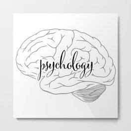 Psychology Brain - Black and Gray Metal Print