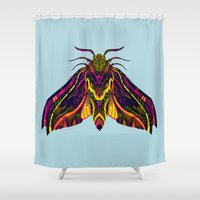hawk Shower Curtains featuring Elephant Hawk Moth by Karl James Mountford