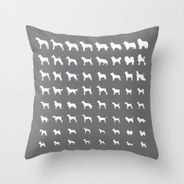 All Dogs (Grey/White) Throw Pillow