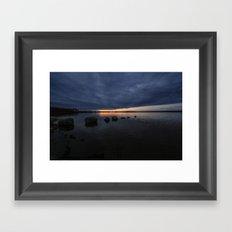 Sunset Rock Silhouettes Framed Art Print