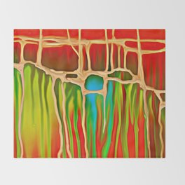 Distant Trees in Orange and Lime Throw Blanket