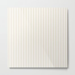 Christmas Gold and White Mattress Ticking Stripes Metal Print