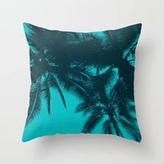Blue palms in summer Throw Pillow