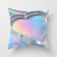 hologram Throw Pillows featuring Glass Heart by Varvara Repnikova