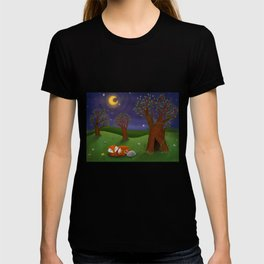 Fox And Bunny Dreaming The Night Away T-shirt